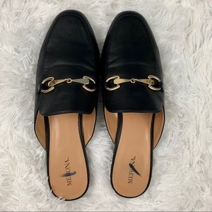 Merona mules / loafers with gold tone horse bit